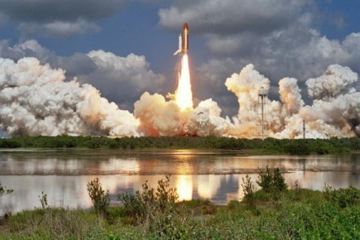 Shuttle Atlantis launches into space