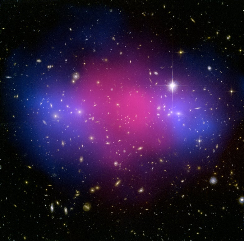 star clusters overlaid with pink and blue colors