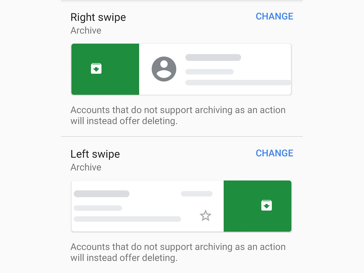 The swiping options for Gmail on an Android phone.