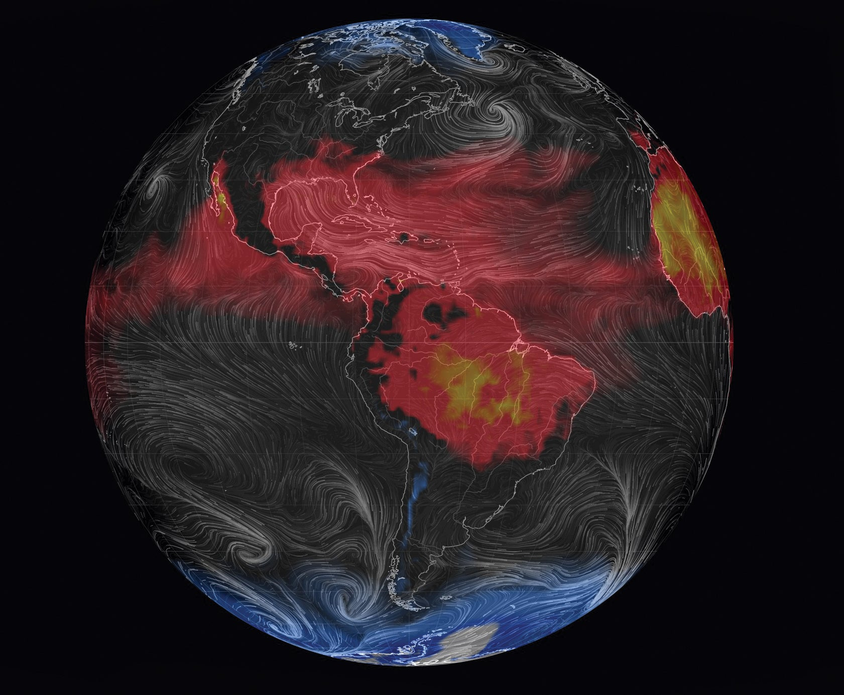 weather patterns visualized on a 3-D computer model of Earth