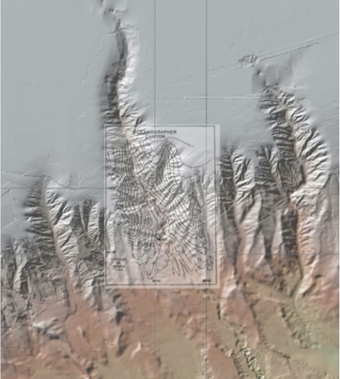 Maps of Oceanographer Canyon by Bill Ryan's team in 1978 overlay a multibeam swath map by NOAA and USGS.