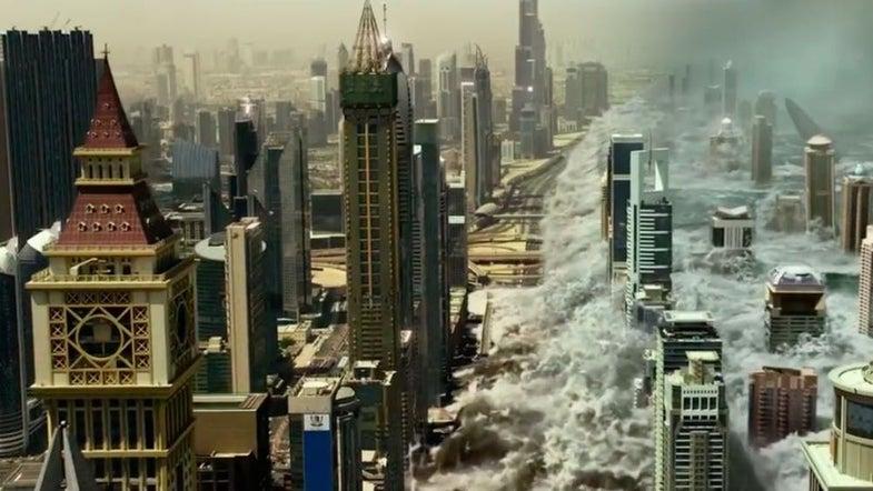 a wave crashes into a city