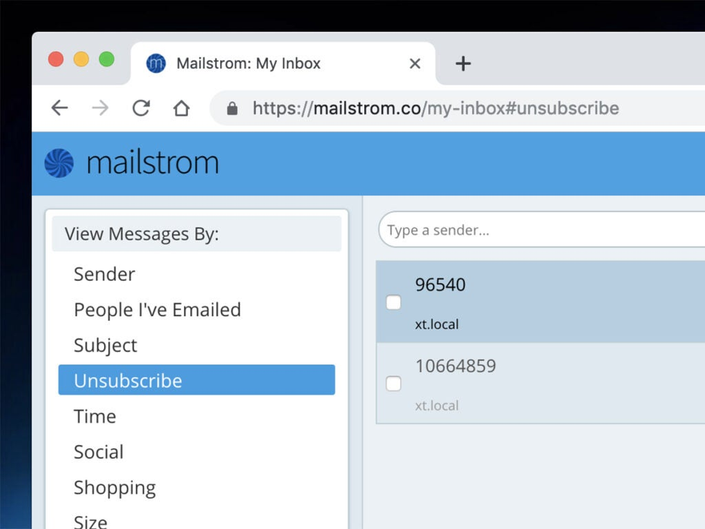 Mailstrom unsubscribe