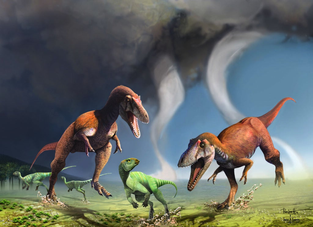 An artist's drawing of two *Gualicho shinyae* and an unnamed dinosaur.