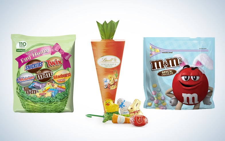Easter candy and flowers