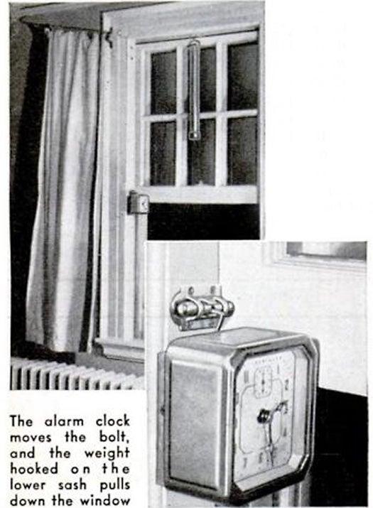 Clock Closes Bedroom Window, February 1940