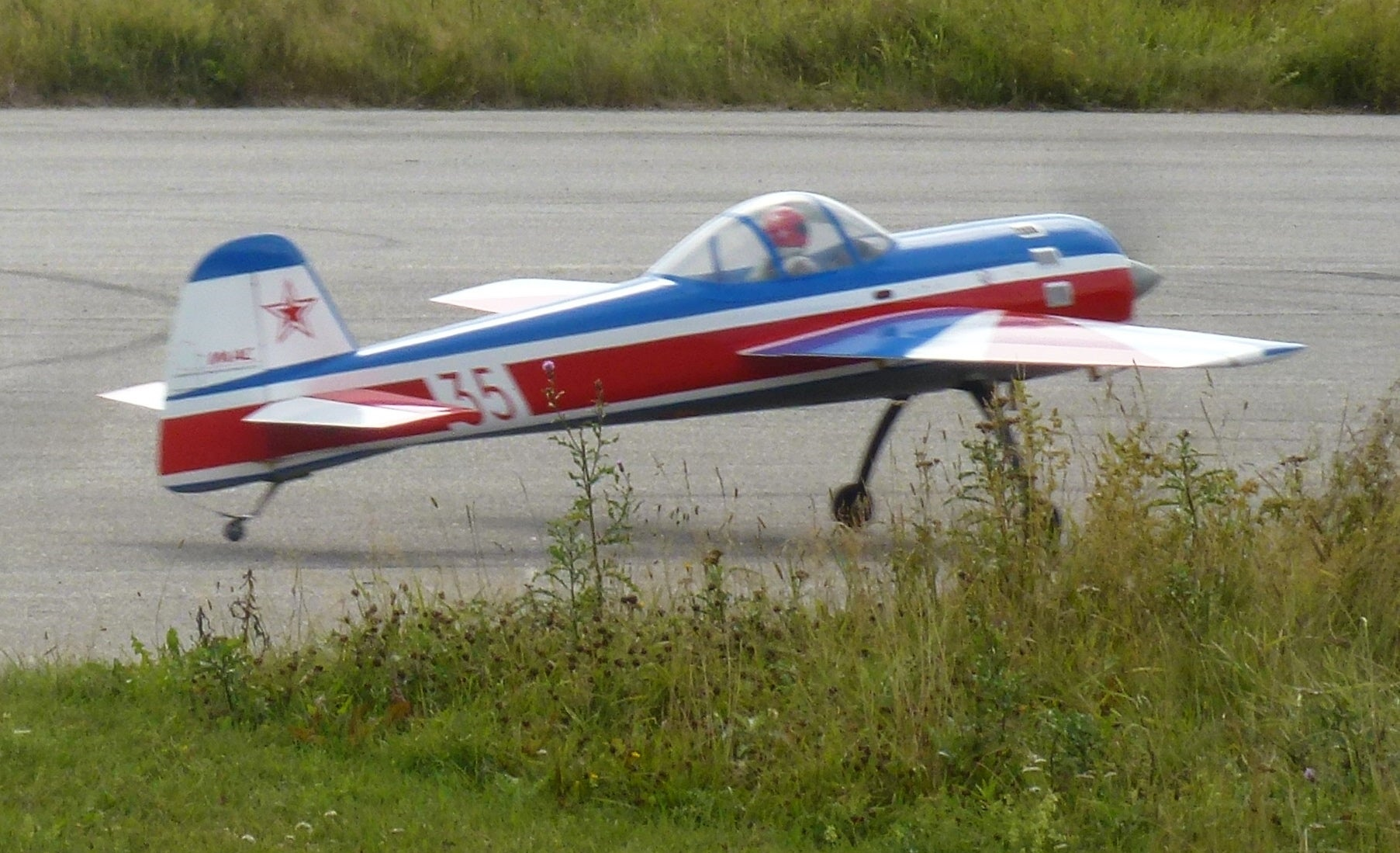 Model Airplane On Runway