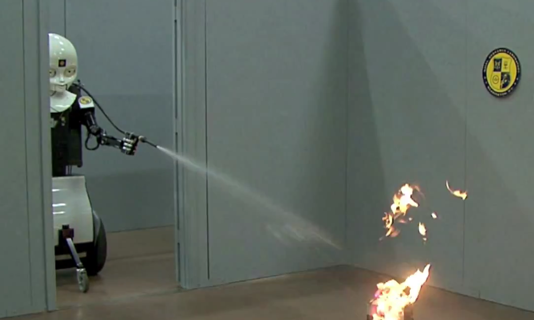 Video: The Navy's  'Shoulder-to-Shoulder' Firefighting Robot's First Trial By Fire