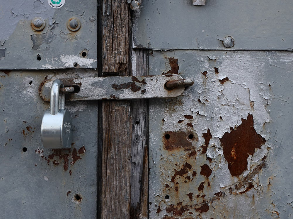 padlock and chipped paint
