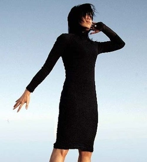 This Slinky Black Dress Is Also a Cellphone