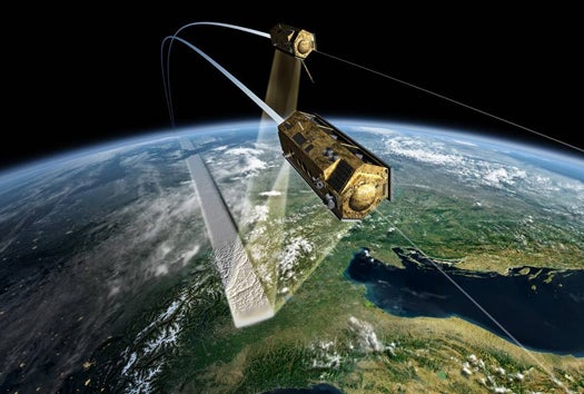 Tandem Pair of German Orbital Imaging Satellites Will Create Sharpest-Ever 3-D Map of Earth