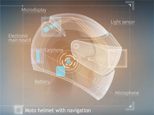 A Motorcycle Helmet With A Head-Up Display