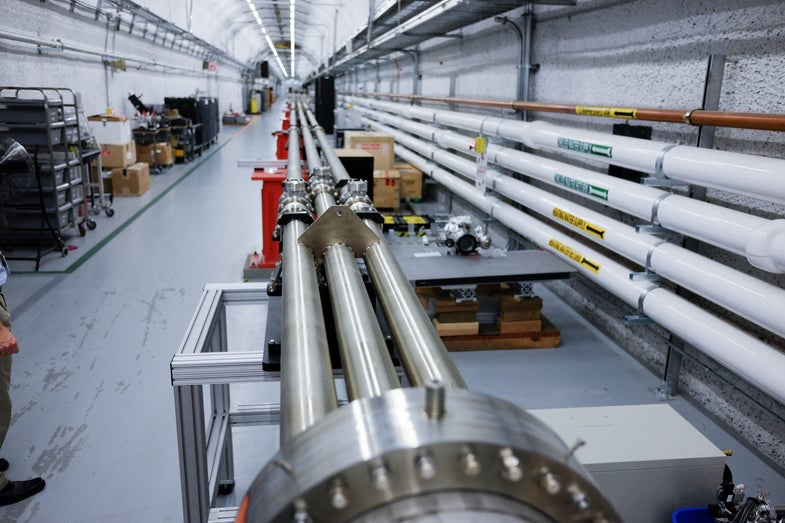 The X-Ray laser is split into parallel tubing to be distributed to the Far Experimental Hall.