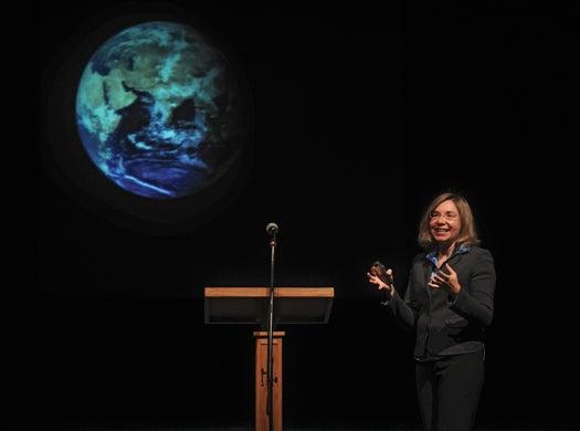 Katharine Hayhoe holding a speech