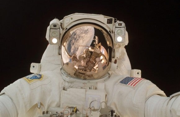 NASA astronaut Scott Parazynski takes a self-portrait