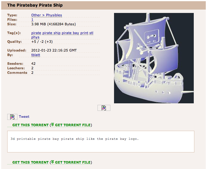 Pirate Bay Starts Offering Tangible 3-D Objects For Download