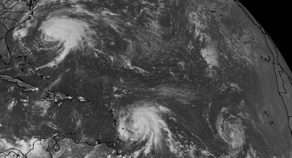 A satellite image of Hurricane Jose, Tropical Storm Maria, and Tropical Depression Lee on September 17, 2017.