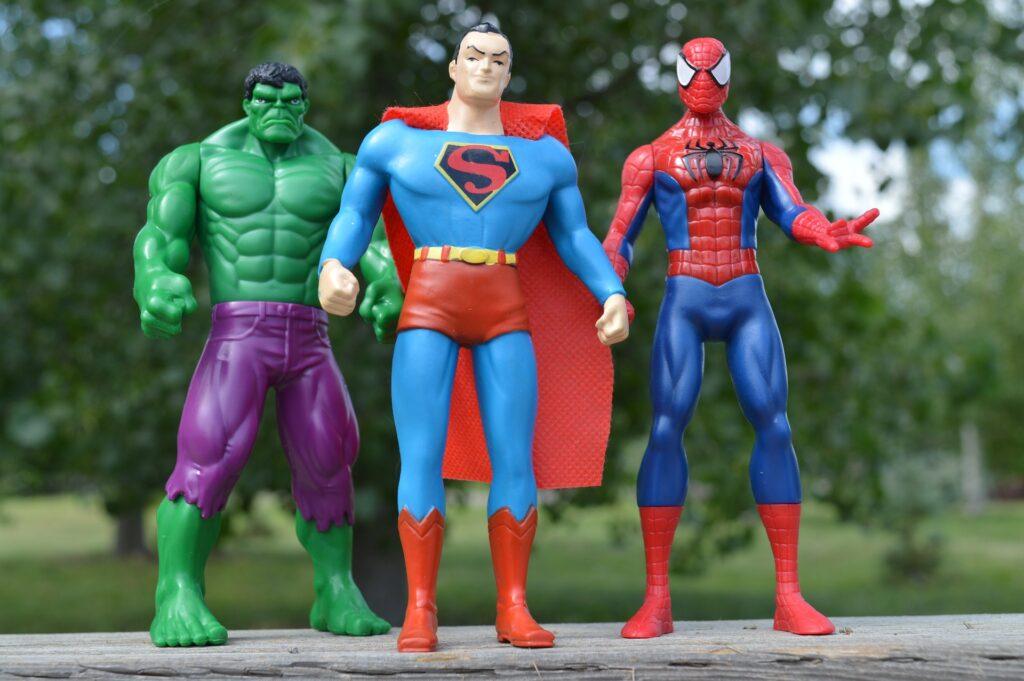 Superheroes the Incredible Hulk, Superman and Spider-Man.