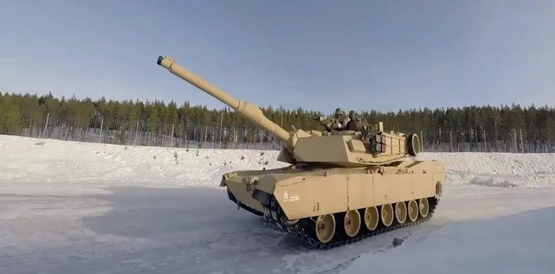 Watch American Battle Tanks Skid Around In Norwegian Snow