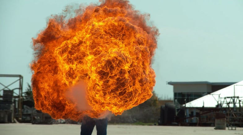 Watch A Flamethrower Throw A 50-Foot Flame In Slow Motion