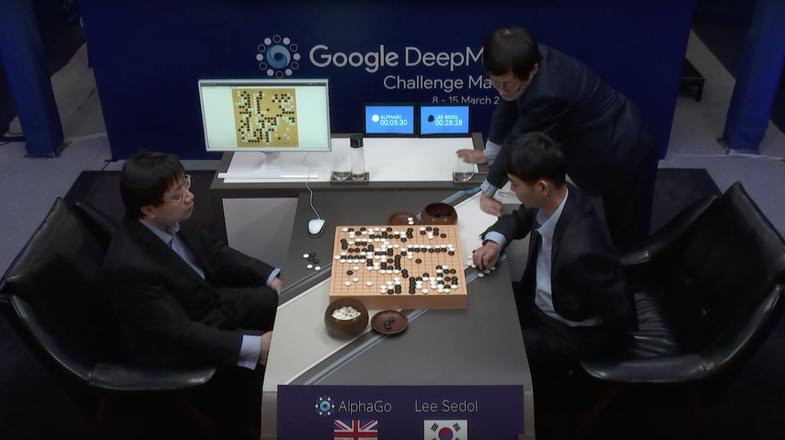 Google's AlphaGo beats world champion Lee Se-dol in Go.