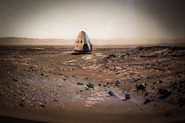Illustration of SpaceX 'Red Dragon' craft on Mars