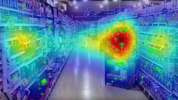 heat map of where shoppers' eyes go in a grocery isle