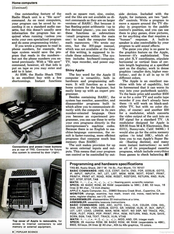 Popular Science's first recorded coverage of Apple.