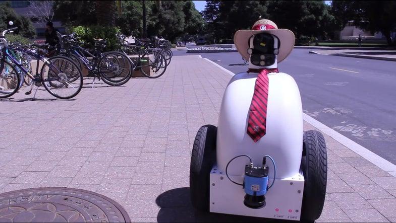 Necktie-Wearing Robot Learns Sidewalk Etiquette