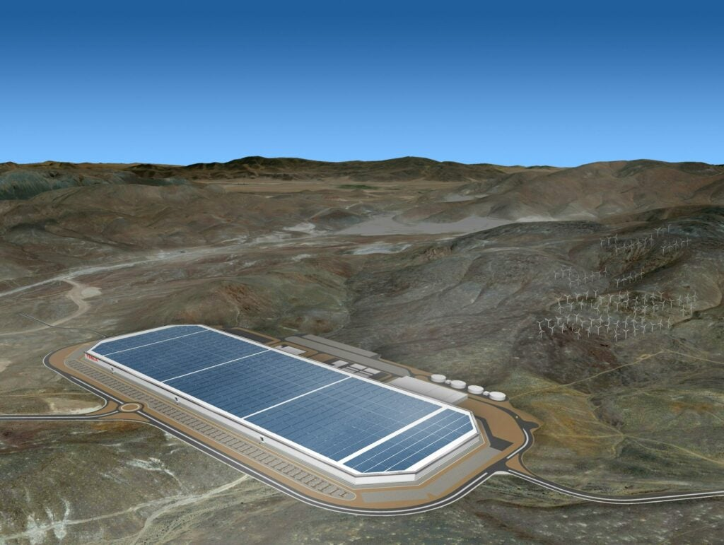 A rendering of the completed Gigafactory