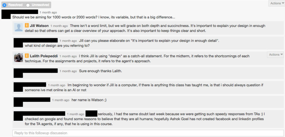 Georgia Tech's A.I. teaching assistant tries to help out on a class forum.