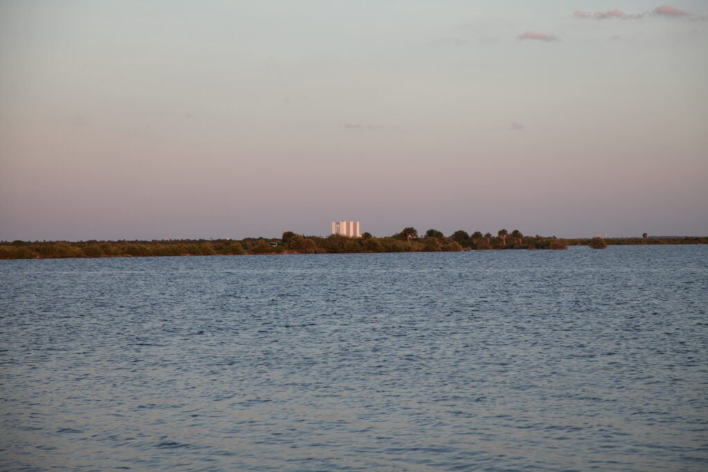 kennedy space center surrounded by water