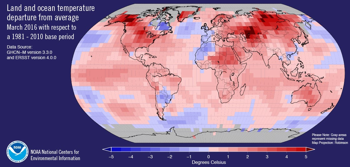 March Smashes Global Temperature Records Keeping Heat Streak Alive
