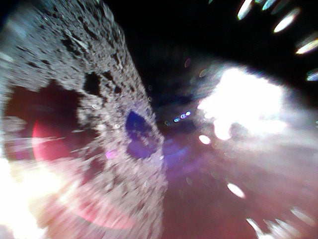 Megapixels: A rover snaps a pic as it hops along the surface of an asteroid