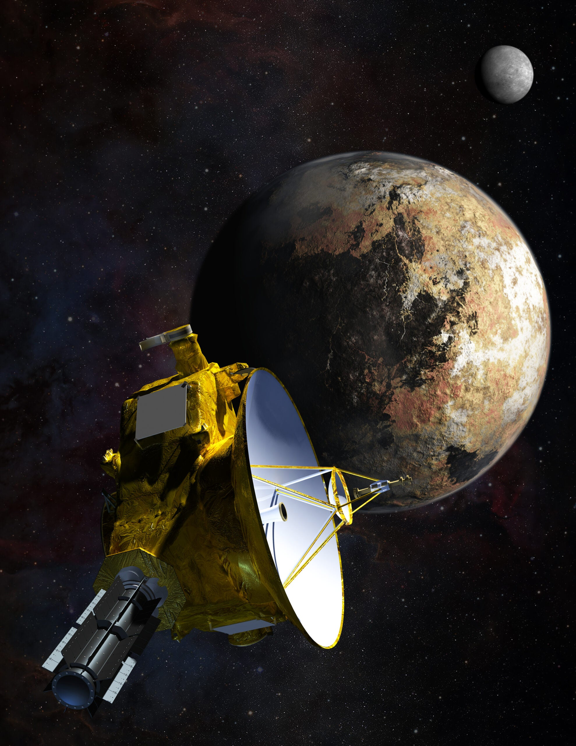 a conceptual drawing of the New Horizons spacecraft approaching Pluto