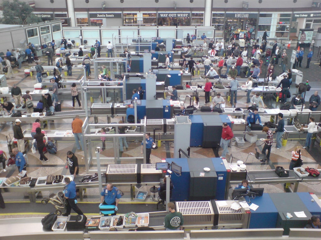 Security screening area at Denver International Airport