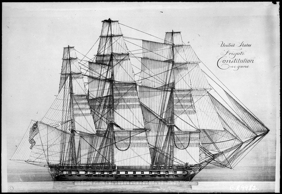 Clone of The Original Sail Plans for America's Oldest Warship