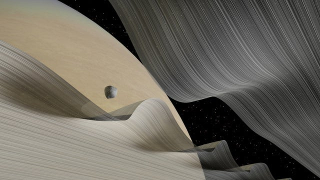 New Visualizations Show A Moon's Trippy Path Through Saturn's Rings