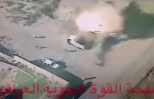 Drone footage of the China Iraq CH-4 drone HJ-10 missile hitting the target