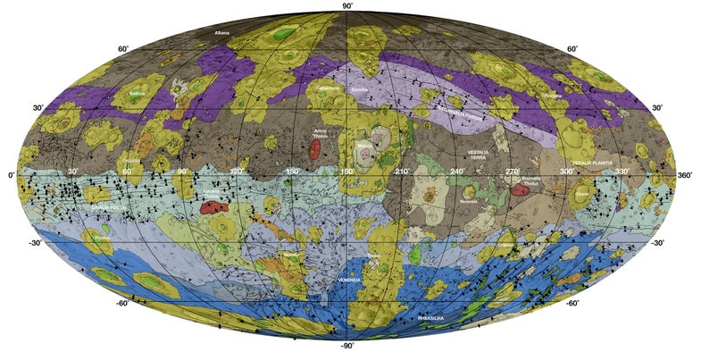 geologic map of Vesta's surface in bright colors