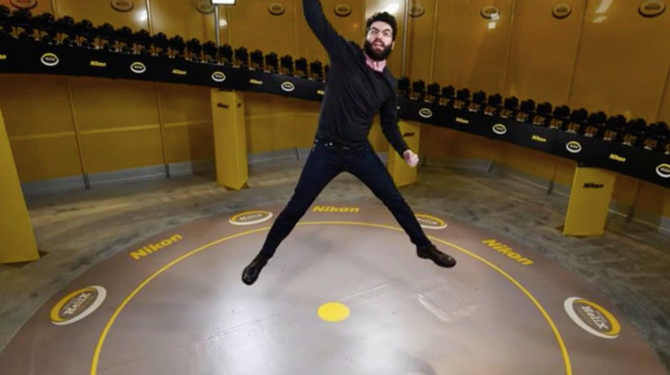 Nikon 360 camera photo of Dave jumping