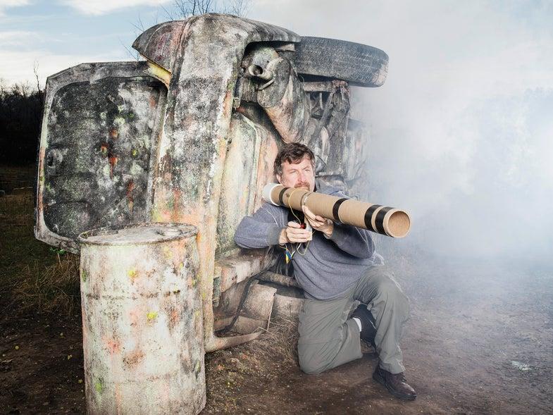 William Gurstelle shoots bottle bazooka