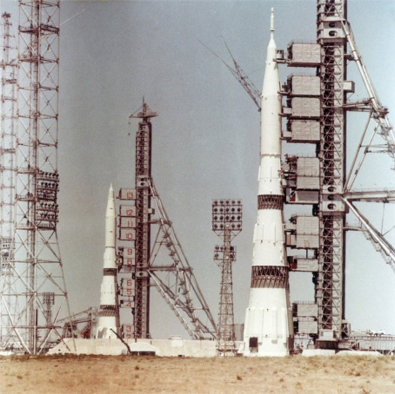 Two N-1 rockets on launch pads