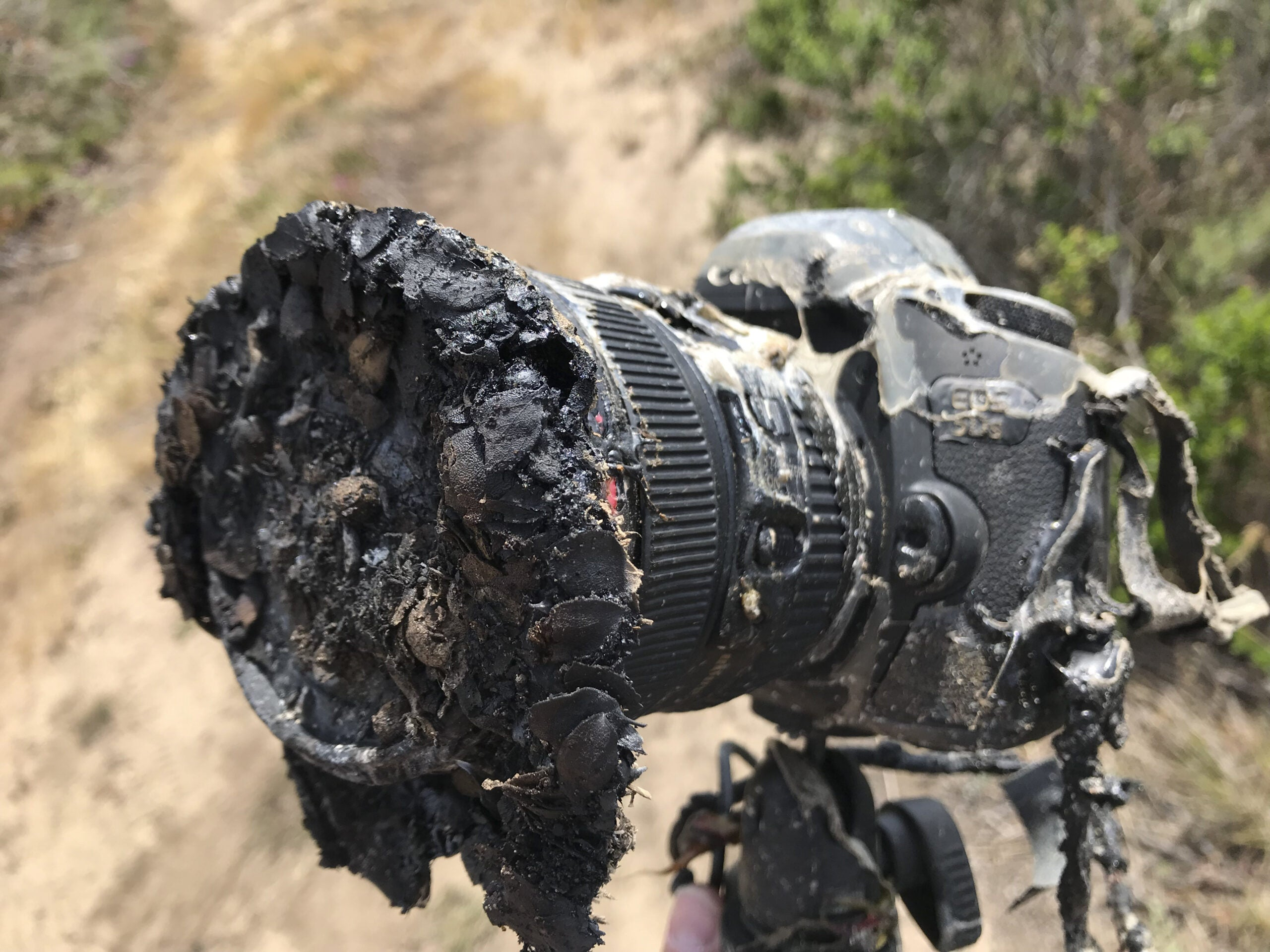 burned melted camera