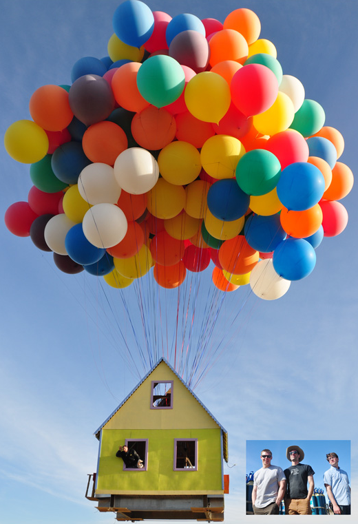 """Video: PopSci Contributor Builds a Real Life """"Up"""" House, Lifted Into the Air by Balloons"""