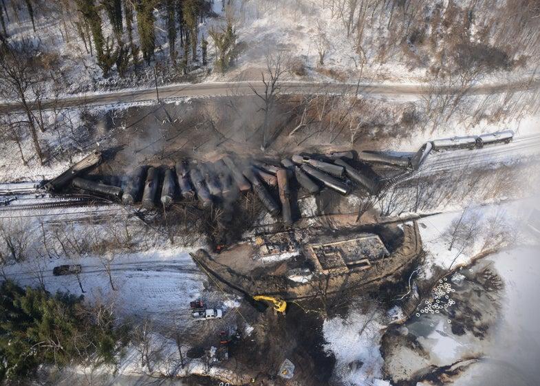 West Virginia Train, Derailed Monday, Is Still Smoldering