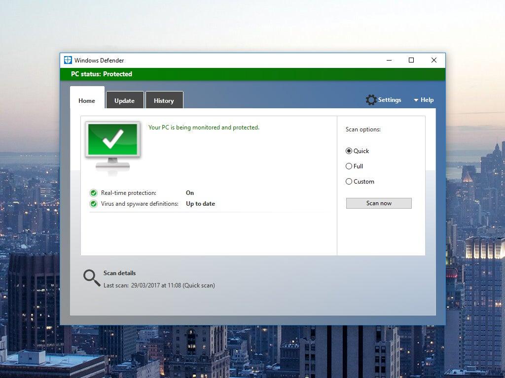 Windows Defender on a Windows computer
