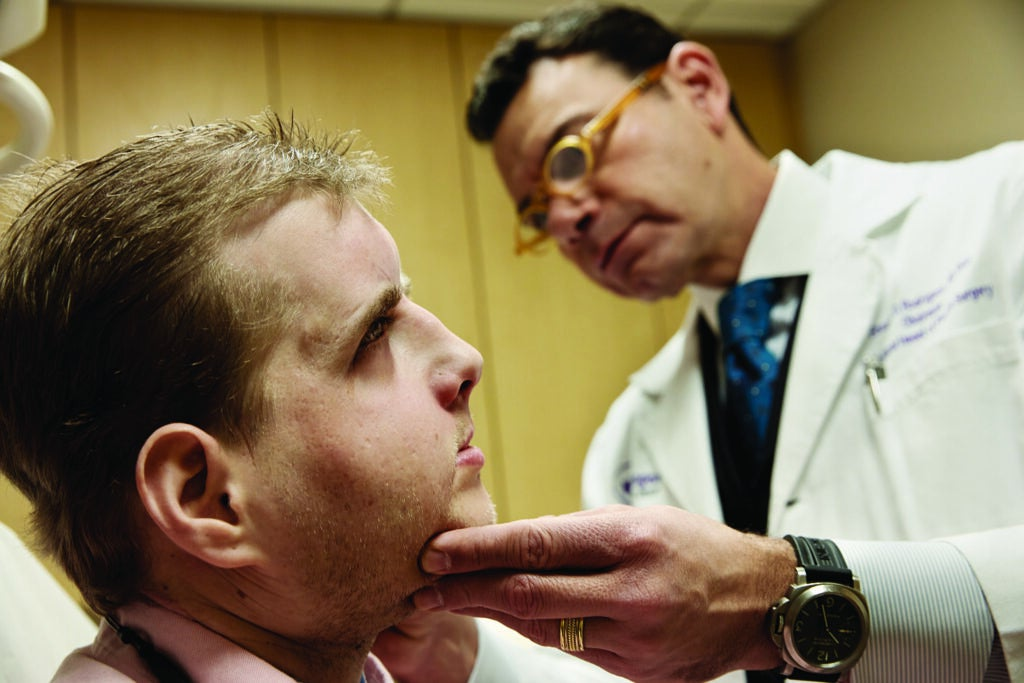 Patrick Hardison and Dr. Eduardo Rodriguez, chair of plastic surgery at NYU Langone Medical Center.