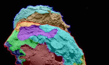 Multicolor Map Shows Differing Regions Of Rosetta's Comet