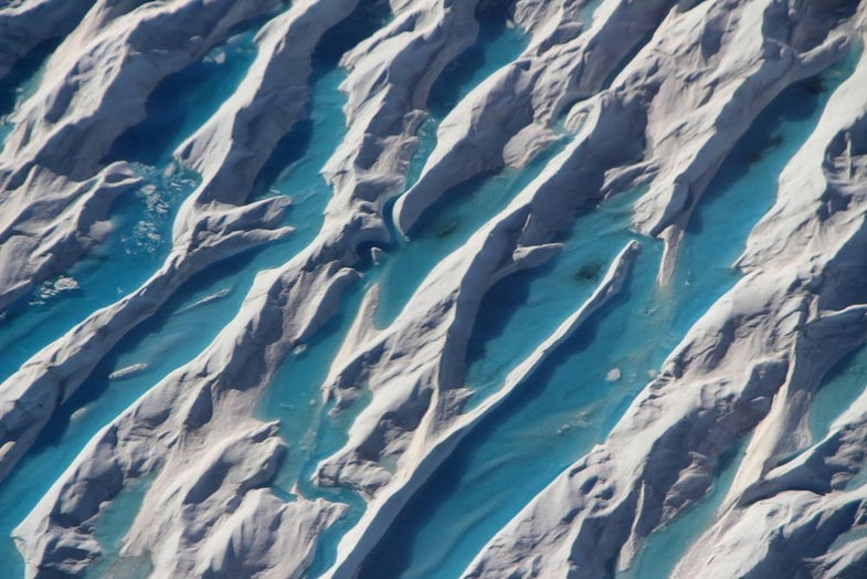 Meltwater in crevasses in southern Greenland